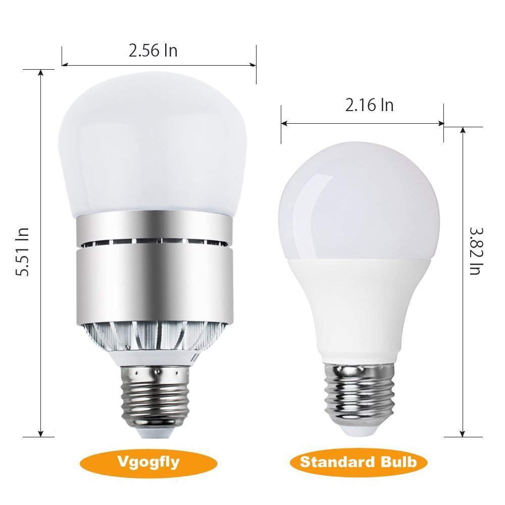 LED Light Bulbs Dusk to Dawn Sensor Lights Bulb Smart Lighting Lamp 12W 1200LM E26/E27 Socket 3200k Auto On/Off Indoor Outdoor Security Light for Porch, Garage, Driveway, Yard, Patio (Warm White) by Vgogfly (Image #4)