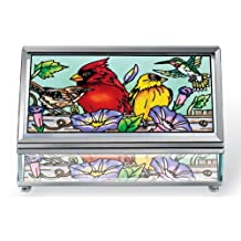 Amia 41050 Rectangular Beveled 5-Inch Long Hand Painted Glass Jewelry Box, Multiple Birds on Rail Design, Medium