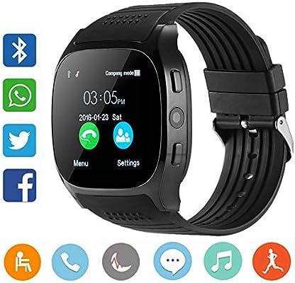CanMixs Smartwatch CF02 es compatible con la tarjeta SIM Reloj de pulsera TF con cámara Podómetro Sleep Monitor Message Sync notifica el reproductor ...