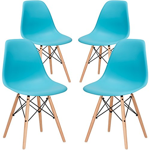 Poly and Bark Vortex Side Chair, Aqua, Set of 4