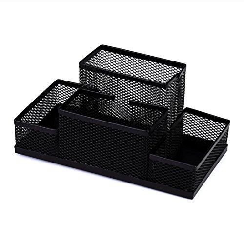 SUPPION Metal Mesh Pen Pencil Holders Box Home Office Desk Stationery Storage Organizer Box 4 Compartments (Black)