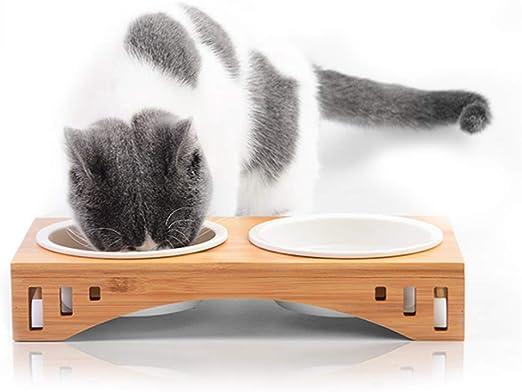 PETCUTE Comederos para Gatos comedero Gato de Madera Comedero de ...