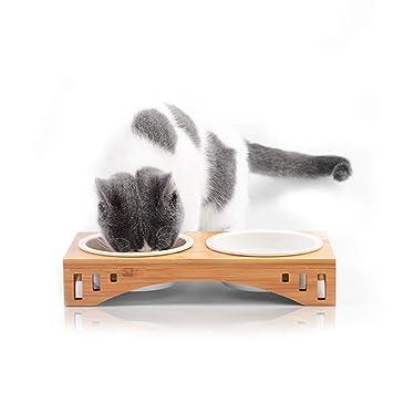 PETCUTE Cuencos para Gatos Perros Comedero de Ceramic para Gato Elevated Comedero Elevado para Mascotas con Soporte de Madera: Amazon.es: Hogar