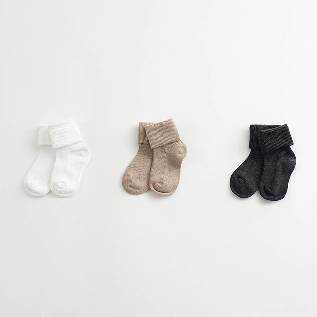 marc janie Baby Girls Boys Autumn Solid Color Stretch Socks 3 Pack