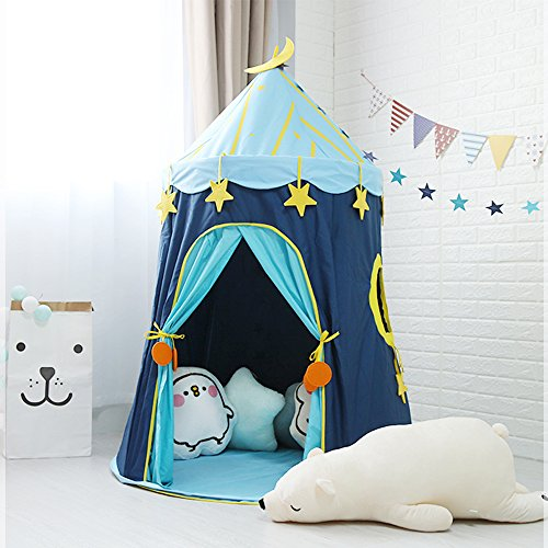 (Wonder Space Moon Stars Children Play Tent, Premium Soft Thick Oxford Fabric Handmade Kids Castle Playhouse, Large & Tall, Comes with Carry Bag, New Upgraded Indoor Outdoor Toy Tent for Boys & Girls)
