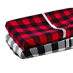 Org Store Premium Buffalo Check Changing Pad Cover Set | 100% Cotton Universal Plaid Changing Table Pad Cover 2-Pack
