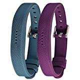 Bands for Fitbit Flex 2 - Soft Silicone Band Replacement Accessories Adjustable Strap Belts for Fitbit Flex2 (Grey Blue+Dark Purple)