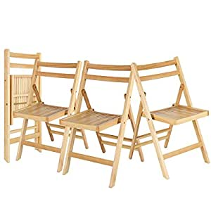 Solid Wood Folding Chairs Slatted Seat Wedding Patio Garden Furniture Set of 4