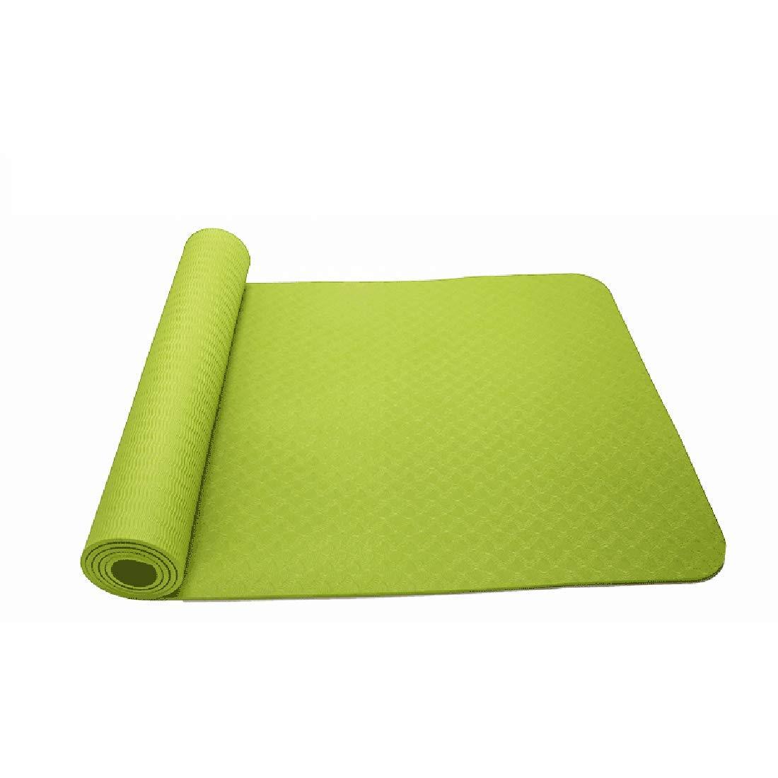 Fepelasi Yogamatte Umweltfreundliche TPE8mm Sportmatte Geeignet für die Turnhallenfamilie (Farbe   Light Grün, Größe   183cm)