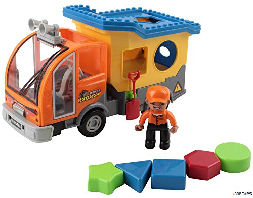 Memtes Dump Truck Toy Building Block, with Action Figure, Lights And Sound, Bump and Go Action
