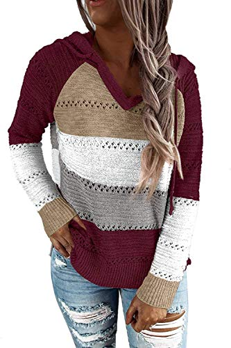 Sipaya Women's Color Block Pullover Sweater Lightweight Hollow Out Hoodie