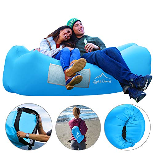 AlphaBeing Inflatable Lounger Air Sofa Hammock - Anti-Deflation Air Couch - Ideal Air Lounger for Camping, Hiking, Travelling, Picnics, Pool, Beach or Festivals