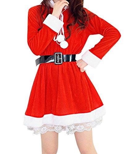 Womens Velvet Santa Christmas Costume Set Cosplay Dance Dress Red 2 (Santa Costume Rental)