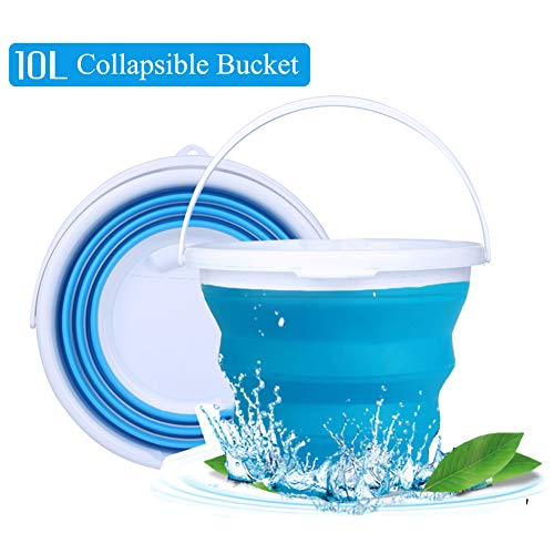(Mylivell Collapsible Bucket with Handle,Foldable Round Tub,Silicone Portable Fishing Water Pail,Collapsible Bowls for Hiking, Backpacking, Camping and Outdoor Survival(Blue - 5L))