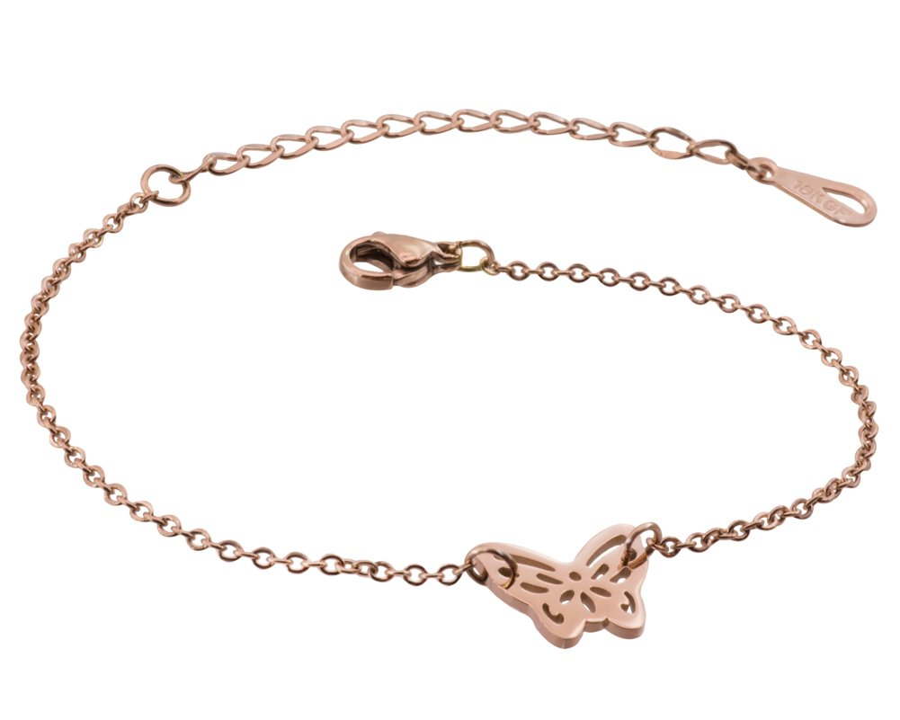 WDSHOW Ankle Bracelet for Women Girls Butterfly Anklets Foot Jewelry Barefoot Sandals Rose Gold-Tone