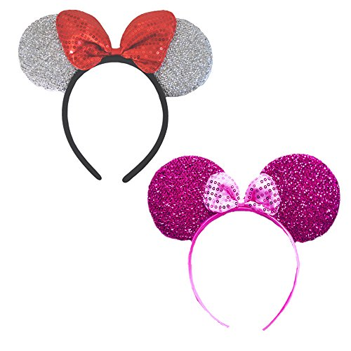 Mini Mouse Headband w/Ribbon Bow - 2 Pieces Assorted Color Set