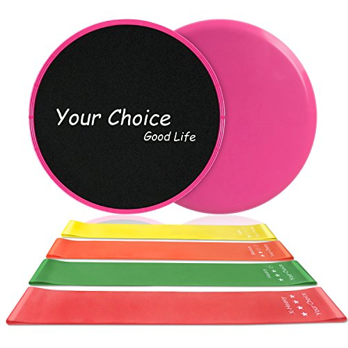 Your Choice Resistance Loop Bands set of 4 and Strength Fitness Slides 80 Day Obsession Equipment
