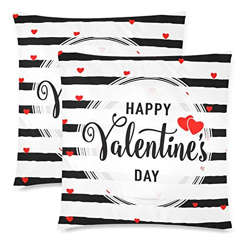 InterestPrint Custom 2 Pack Happy Valentine's Day with Red Heart Throw Pillow Case Covers 18x18 Twin Sides, Black and White Stripe Cotton Zippered Cushion Pillowcase Set Decorative