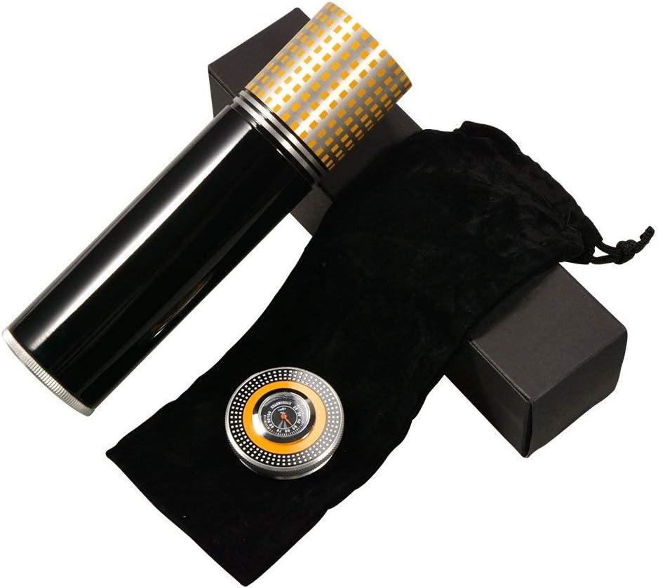 MUTANG Cigar Box Tubo Idratante Cigar Jar Tubo Cigar Corsa Portatile Cigar Humidor Metallo Inossidabile Smoke Tank con Igrometro e Umidificatore