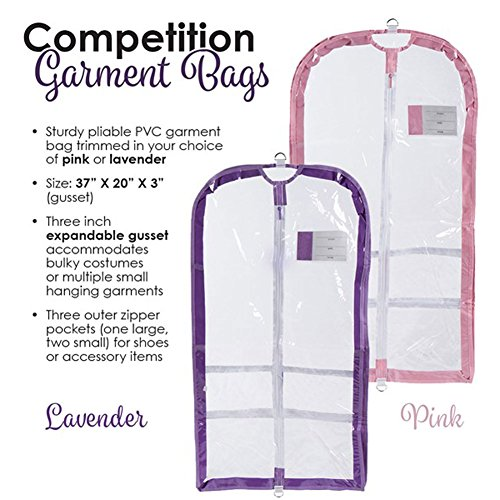 Clear Plastic Garment Bag with Pockets for Dance Competitions Danshuz - Lavender by DansBagz by Danshuz (Image #1)
