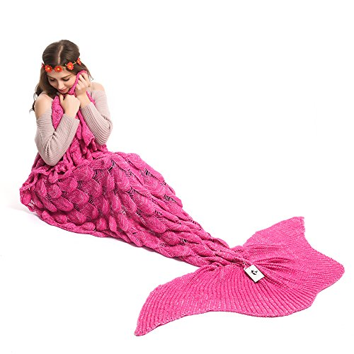 Kpblis Latest Handmade Soft Material Mermaid Large Tail Shape Blanket with Scales Pattern Mermaid Blanket for Adult 71×35inch