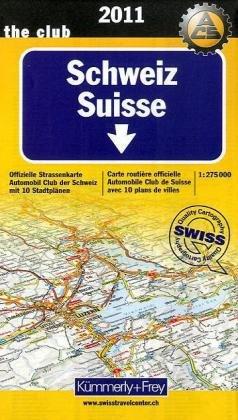 Schweiz 1 : 275 000. Ausgabe 2010: Offizielle Straßenkarte Automobilclub der Schweiz mit 10 Stadtplänen