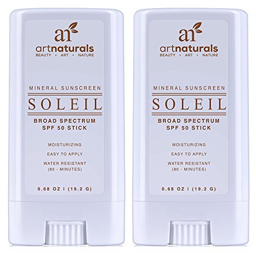 ArtNaturals Sunscreen Stick, Water Resistant 80 Minutes, with The Best Natural and Organic Ingredients, for All Skin Types, Gentle Enough for Children, Kids and Babies, SPF 50, Pack of 2, 0.7 oz.