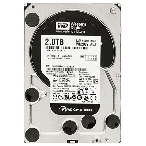Western Digital Caviar Black 2 TB SATA III 7200 RPM 64 MB Cache Bulk/OEM Internal Desktop Hard Drive - WD2002FAEX ()