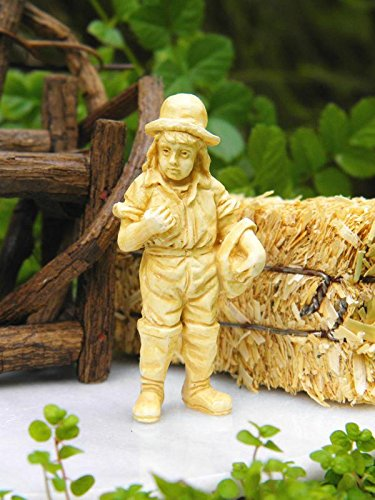 My Fairy Gardens Miniature Accessories - Tan Country Farm Boy Statue NEW - Mini Dollhouse Supply Expressions (Cottage English Kit)