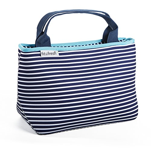 Fit & Fresh Cheshire Neoprene Lunch Bag for Adults and Kids, Lightweight, Washable, Zipper, Waterproof, Navy Nautical -