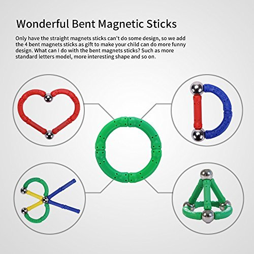 PlayMaty 306 Pieces Magnetic Building and Construction Blocks Toys Magnet Stick Build Toy for Kids Block Stacking Game Include by PlayMaty (Image #2)