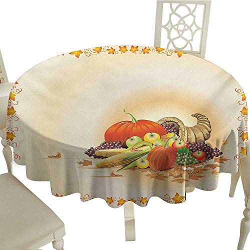 Outdoor Round Tablecloth Rectangular 65 Inch Harvest,Maple Tree Frame with Rustic Composition for Thanksgiving Halloween Dinner Food,Multicolor Perfect for Spring,Summer,Farmhouse Décor,& More ()