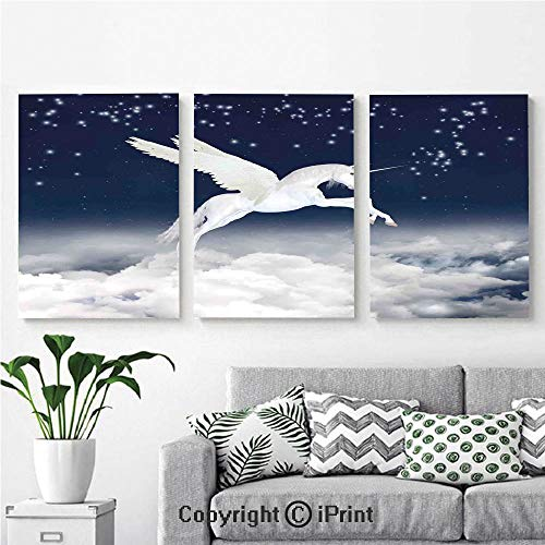 3PCS Triple Decoration Painting Wall Mural Legendary Unicorn Flying Over Clouds Novelty and Purity Icon Magic Creature Image Living Room Dining Room Studying Aisle Painting,16