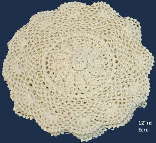 6PCS 12 Round Crochet Lace Doily BEIGE 100% Cotton Handmade, Set of 6 Pieces