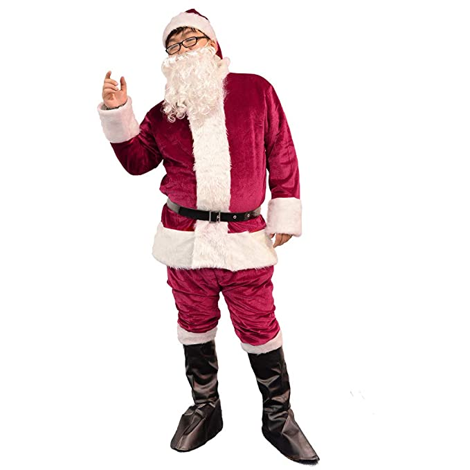 93b2b483aba96 Image Unavailable. Image not available for. Color: Bonng Dark Red Men's  Deluxe Santa Suit 6pcs Christmas Adult ...