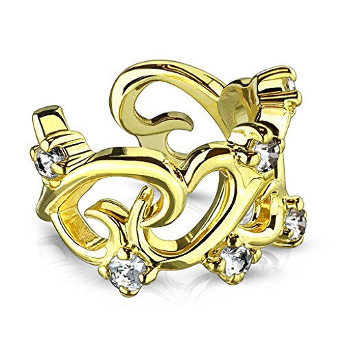 MoBody Non Piercing Adjustable Filigree Linked Hearts with CZ Accents Ear Cuff Earring (Gold-Tone)