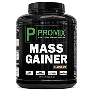 PROMIX Mass Gainer, Bulking Protein Powder, 8.25lbs | 1270 Calories, 50g Protein, 252g Complex Carbs, 11 Servings | Natural Hardgainer Shake, Serious Mass Builder, Ectomorph