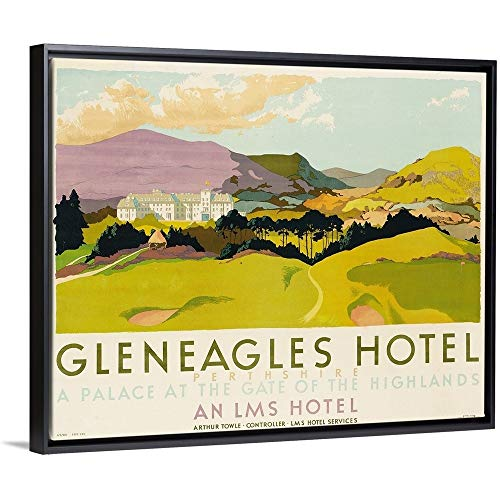 School English Floating Frame Premium Canvas with Black Frame Wall Art Print Entitled Gleneagles Hotel, Poster Advertising The LMS, 1924 20