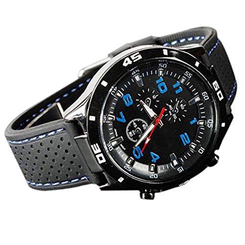 (Trenton Men's Racer Military Pilot Aviator Army Style Silicone Sport Wrist Watch)