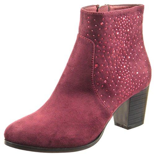 Sopily - Chaussure Mode Bottine Cheville femmes strass diamant Talon haut bloc 6.5 CM - Rouge