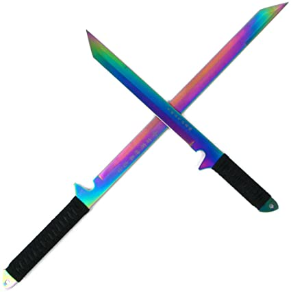 Whetstone Cutlery Rainbow Blade Full Tang Ninja Sword Set with Sheaths