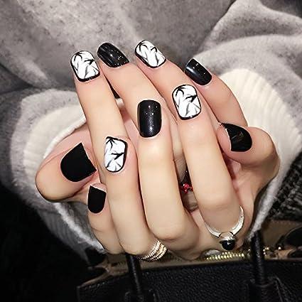 Uñas Cuidado 24pcs yunail tinta y lavar pintura uñas postizas uñas postizas de corto raras
