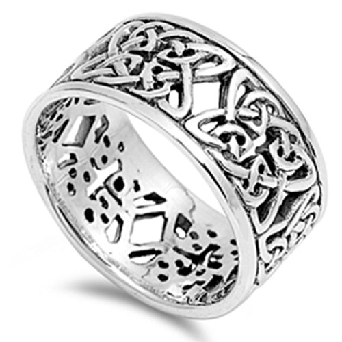 Celtic Knot Eternity Fashion Ring .925 Sterling Silver Band Sizes 7-13 (Celtic Symbol Of Eternity)