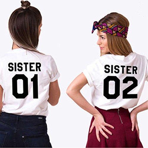 Cime Friend Moda Azzurro Nero Manica Sister Best 02 01 Minetom Donna Magliette Estive Tops Corta Stampa Tee Casuale T Tunica Shirt IqRwC8US