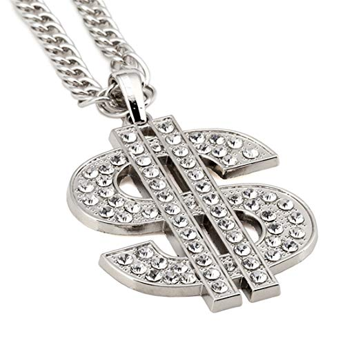 HENGYID Money Rich Dollar Sign Hip Hop Rapper Bling Pendant Gold Pave Crystal Dollar Sign Iced Out Pendant Necklace Franco Chain Hiphop Mens -