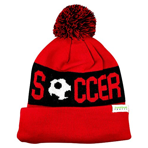 (TravelTeamSports Pom Pom Beanies - Knitted Fleece Lined Beanie Hats w/Soccer Logo (Red/Black))
