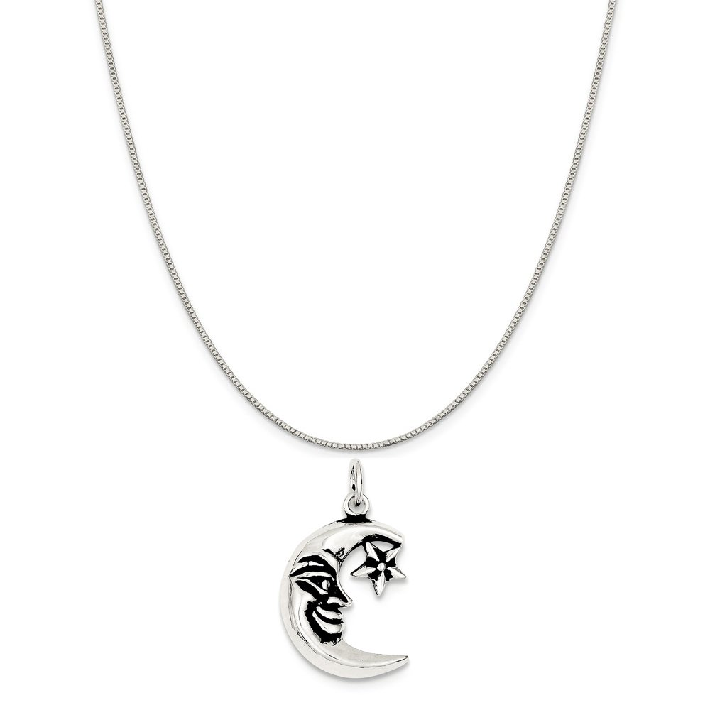 16-20 Mireval Sterling Silver Antiqued Moon Charm on a Sterling Silver Chain Necklace