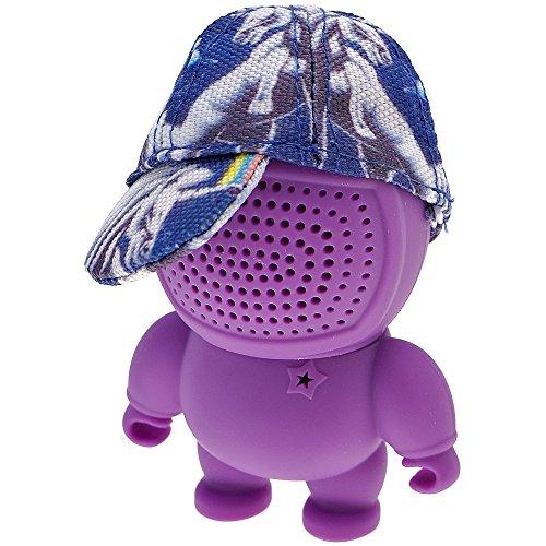 Mini Bluetooth altavoz caja, 3,5mm Aux-In, audio bot Speaker con elástico en lila, azul