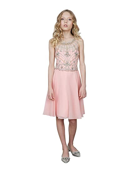 cacc33bb3 Calla Collection USA Little Girls Blush Pink Jeweled Bodice Chiffon Short  Flower Girl Dress 6