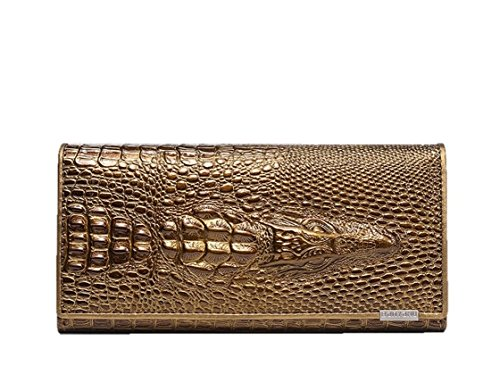 - Eastylish Women's Luxury Wax Genuine Cow Leather Crocodile Clutch Wallets Card Holder Organizer Ladies Purse Gold